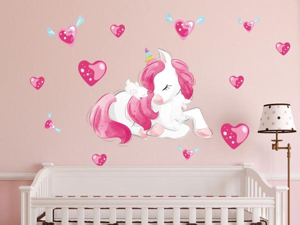 Wandtattoo Einhorn süß rosa