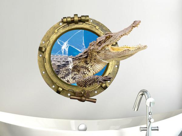 Wandsticker Krokodil Bullauge Glas
