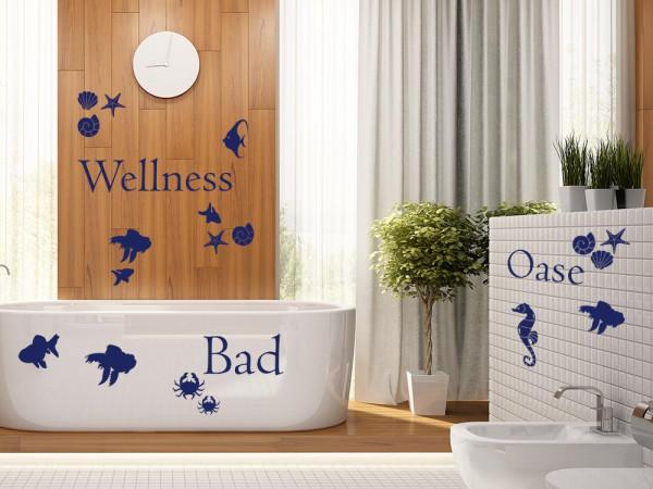 Wandtattoo Set Badezimmer Spruch Wellness Oase mit Muscheln Seesterne