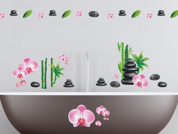 Wandsticker Set Badezimmer Massagesteine Bambus und Orchideen Blüten