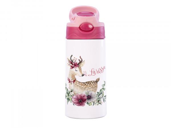 Thermosflasche für Mädchen mit Wunschname - Rehkitz
