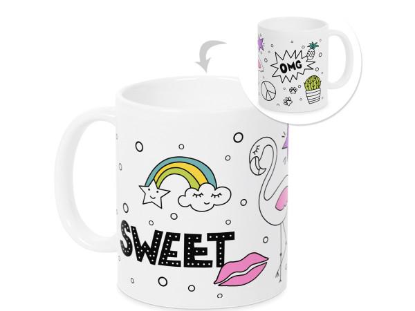 Tasse mit Spruch OMG Sweet und Regenbogen