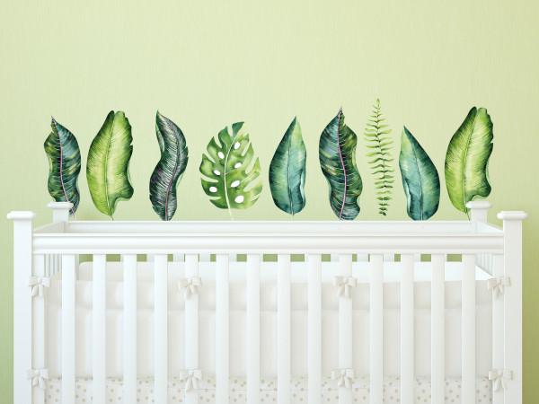 Wandtattoo Dschungel Blätter für Kinderzimmer