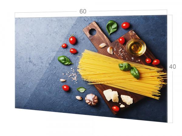 Spritzschutz Küche Glas Pasta mit Tomaten in Grau