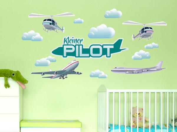Wandsticker Set Flugzeug für Kinderzimmer Spruch Pilot