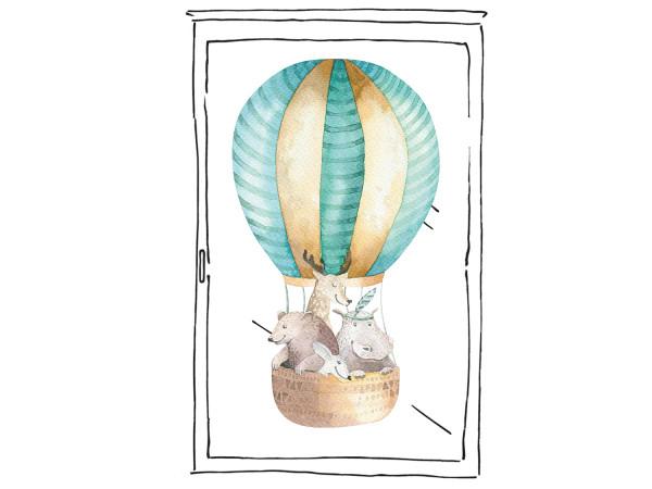 Fensterfolie Heißluftballon in türkis für Kinderzimmer