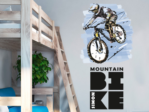 Wandtattoo Mountain Bike mit Namen
