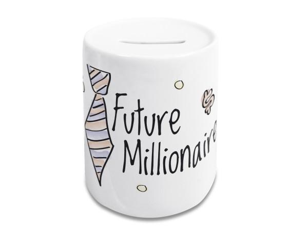 Spardose lustig, Kinder und Erwachsene, Geldgeschenk Sparschwein, Sparbüchse, Motiv Future Millionaire