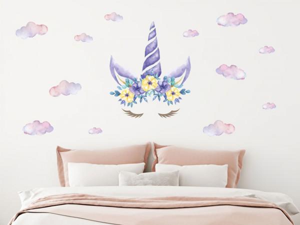 Wandtattoo Einhorn mit Blumen lila blau