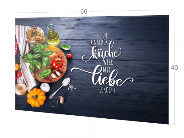 Spritzschutz Herd Glas Spruch Unsere Küche mit Liebe, grau