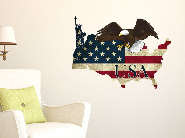 Wandsticker USA Adler Amerika