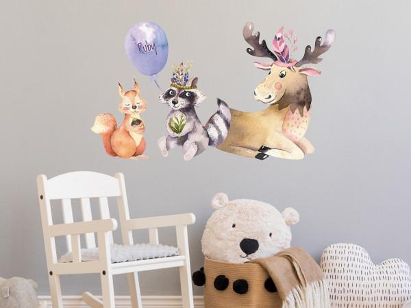 Wandtattoo Waldtiere und Luftballon mit Namen