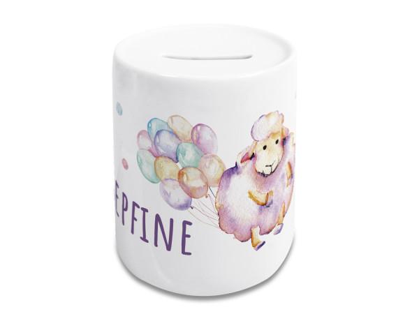 Spardose Kinder Mädchen mit Name, Schaf mit Luftballons, personalisiertes Geschenk Geburtstag, Weihnachten, Taufe