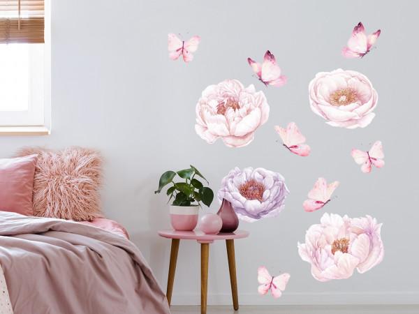 Wandtattoo Pfingstrose Blumen rot - zartrosa, Wohnzimmer Schlafzimmer Wanddeko