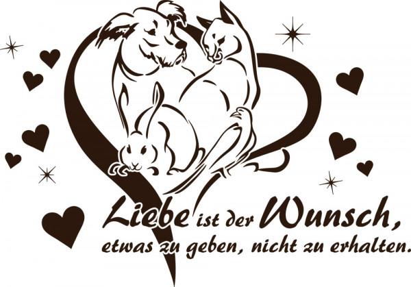 Wandtattoo Sprüche für Wohnzimmer Spruch Liebe ist der Wunsch Tiere
