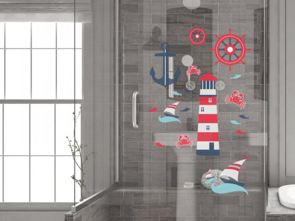 Fenstertattoo maritim mit Anker und Leuchtturm