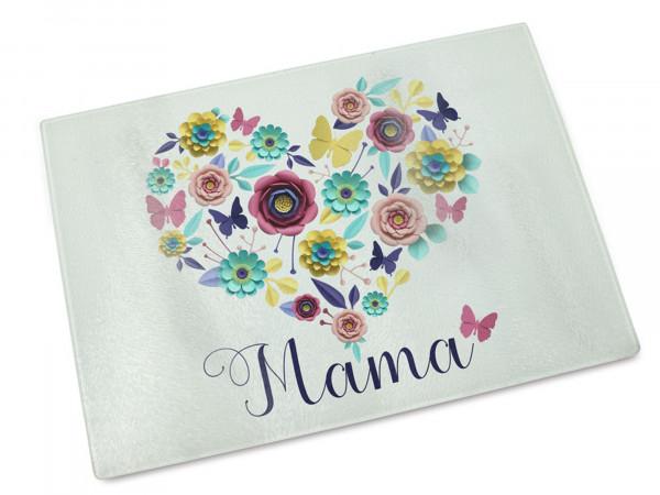 Glas-Schneidebrett Mama mit Blumenherz
