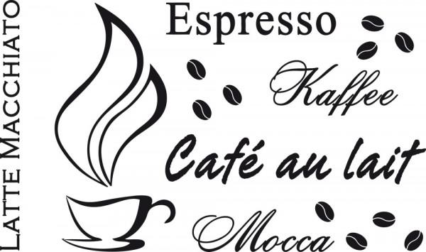 Wandtattoo Küche Schriftzug Kaffeesorten Espresso Kaffee Mocca