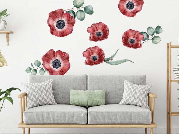 Wandtattoo Mohnblumen Blumen rot - dunkelrot, Wohnzimmer Schlafzimmer Wanddeko
