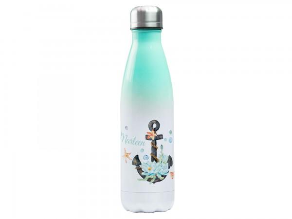 Trinkflasche mintgrün mit Wunschname - Anker