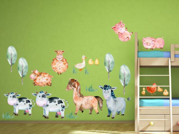 Wandtattoo Bauernhofstiere Kinderzimmer