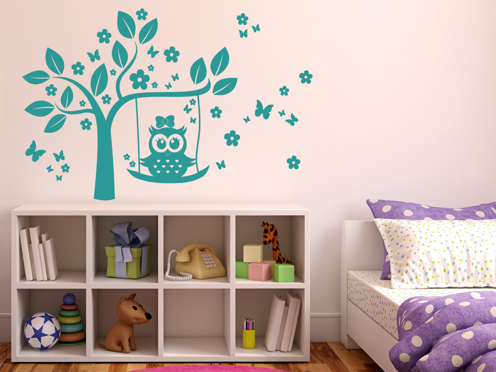 wandtattoo f r m dchenzimmer eule schaukel baum blumen m dchen kinderzimmer wandtattoo. Black Bedroom Furniture Sets. Home Design Ideas