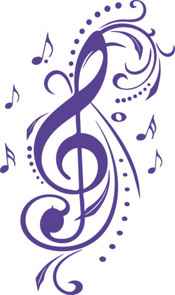 Wandtattoo Musik Ästhetischer Notenschlüssel mit Musik-Noten