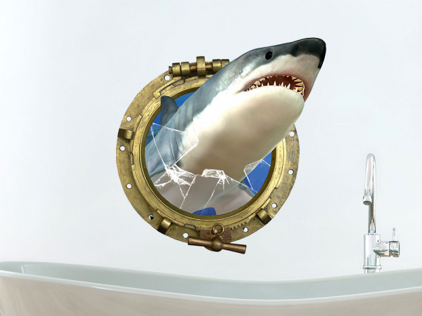 Wandsticker Bullauge Hai Glas