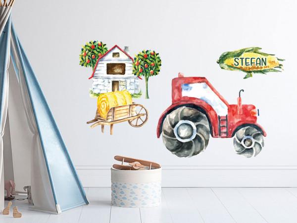 Wandtattoo Trecker, mit kleinen Bauernhof, Geschenke für Jungen