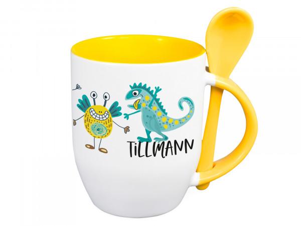 Tasse mit Löffel Name personalisiert mit Monster