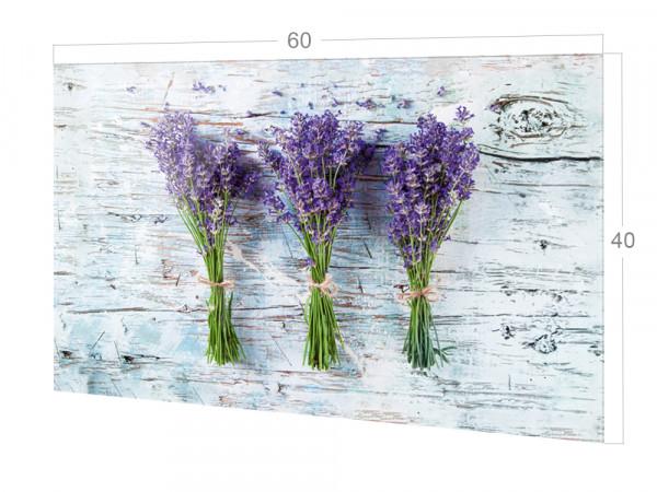 Spritzschutz Küche Glas Lavendel Grau Holz