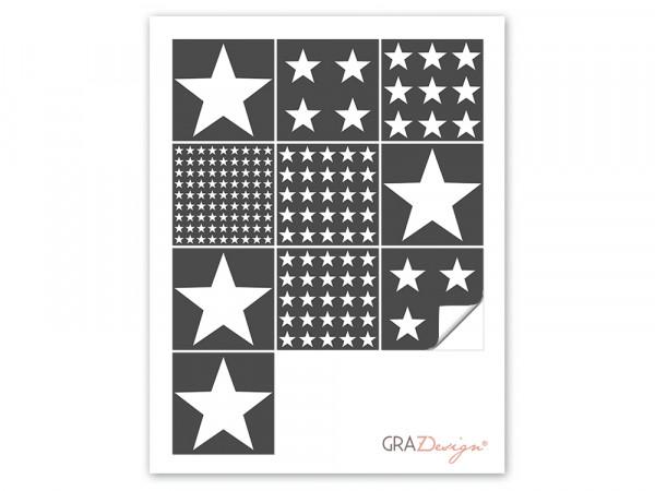 Fliesenaufkleber Set weiß grau Sterne