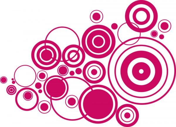 Wandtattoo Retro Spiel Dots Kreise Ringe