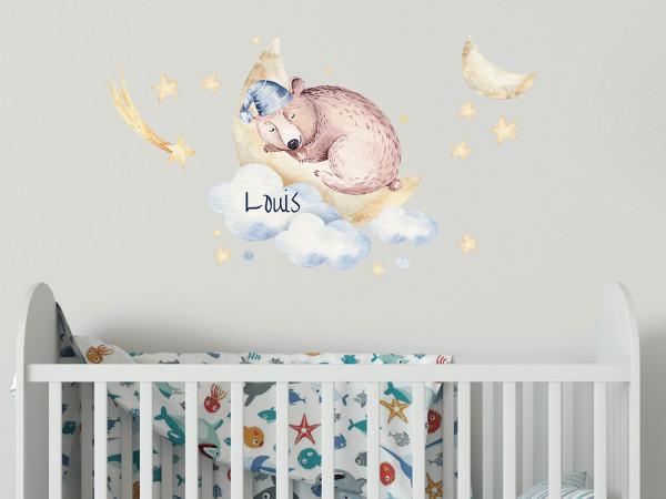 Wandtattoo Bär auf Mond und Namen für Babyzimmer