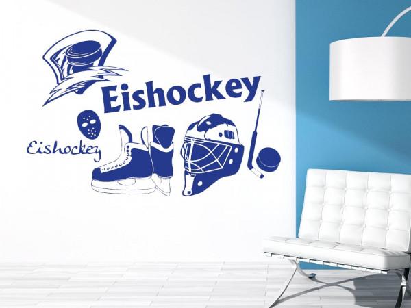 Wandtattoo Set für Jugendzimmer Eishockey Puck Maske Sport