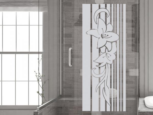 Fenstertattoo für die Glastür mit Blumen in Retro