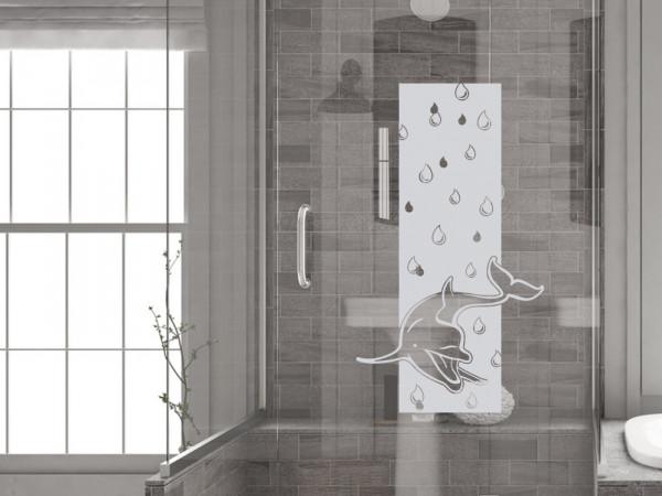 Fensterfolie Bad, Duschtür Aufkleber Delfin mit Wassertropfen