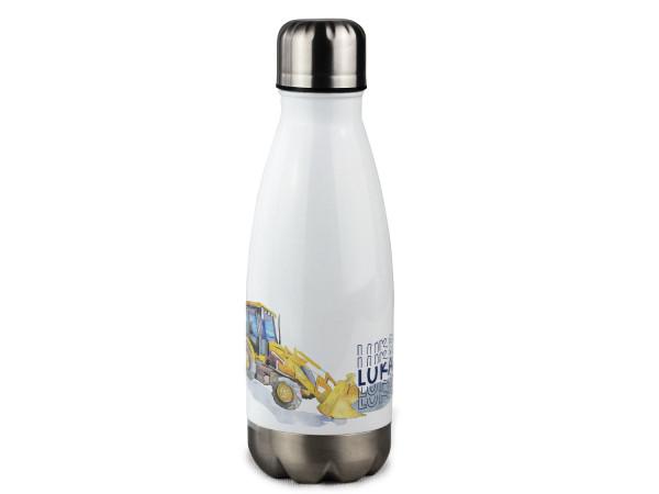 Isolierte Trinkflasche Kinder mit Namen personalisiert, Bagger