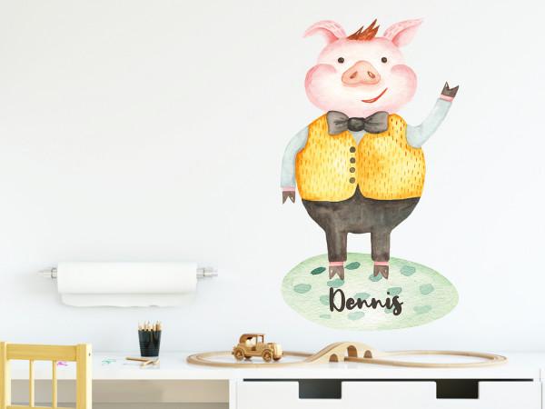 Wandtattoo personalisiert mit Namen und Schwein, für Jungs