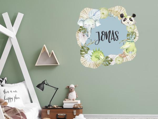 Wandtattoo mit Namen personalisiert, Kinderzimmer für Mädchen und Jungen, Türaufkleber, Motiv Tiere