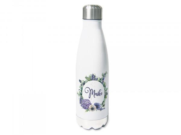 Thermosflasche mit Namen personalisiert, Hortensien im Kranz