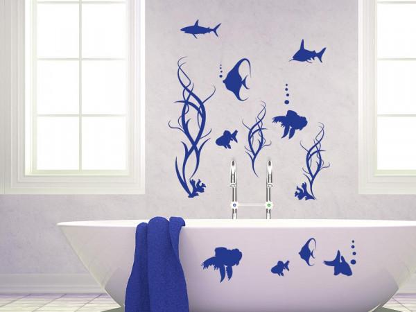 Wandtattoo Badezimmer Set Fische Hai Algen Blubberblasen