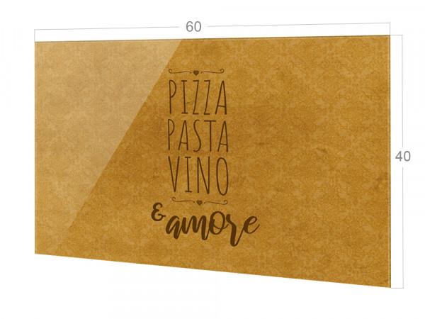 Spritzschutz Küche Glas Pizza Pasta Vino Barock gold, braun