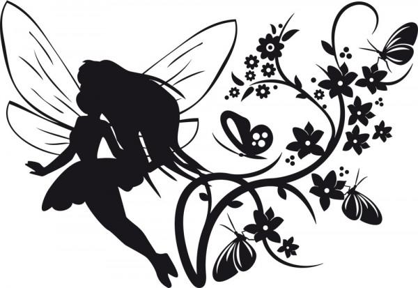 Wandtattoo Kinderzimmer Elfe mit Blumen und Schmetterlingen