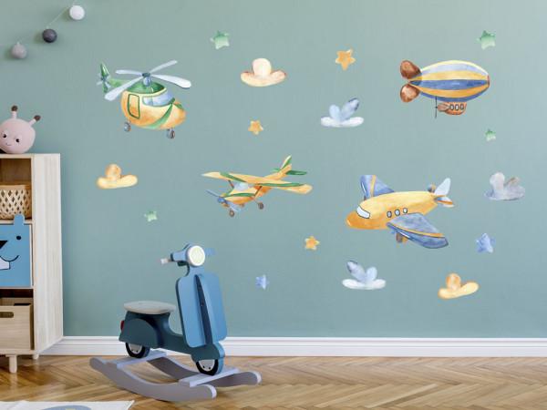 Wandtattoo Flugzeug Kinderzimmer, Wandaufkleber Wolken für Jungen, Deko für Babyzimmer Baby Jungenzimmer Jungs, Aquarell