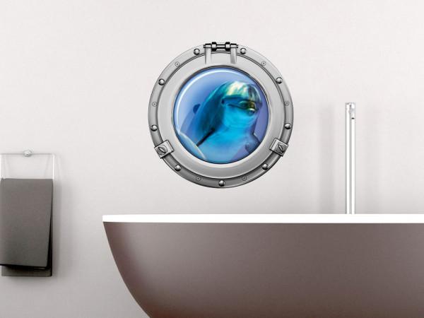 Wandsticker Badezimmer Bullauge Delfin Unterwasser