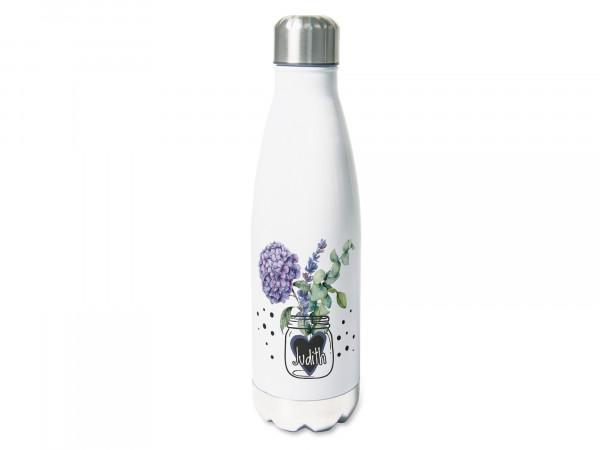 Thermosflasche mit Namen personalisiert, Hortensien in der Vase