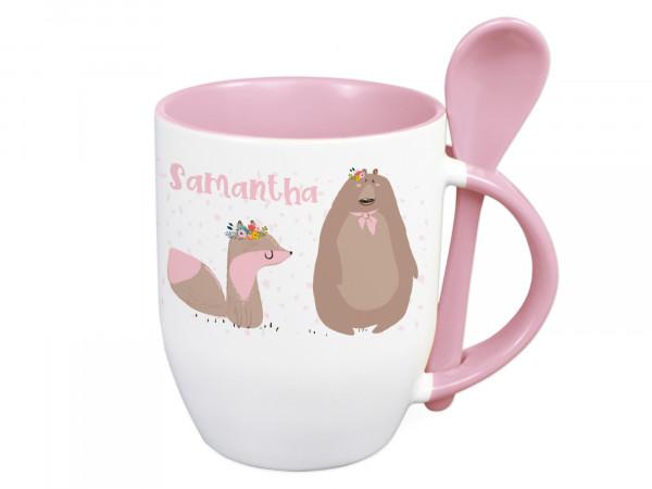 Tasse mit Löffel für Kinder, Wunschname, Waldtiere