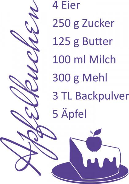 Wandtattoo für Küche Rezept für Apfelkuchen