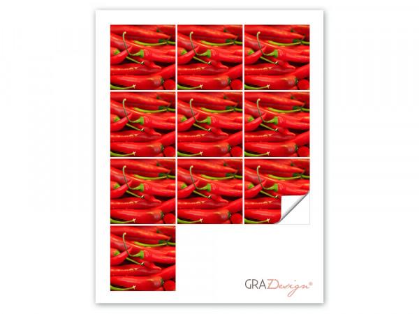 Fliesenaufkleber Set Chilischoten Chili